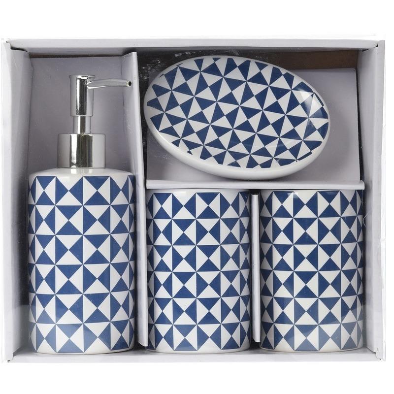 Blauw-witte retro badkamer set 4-delig