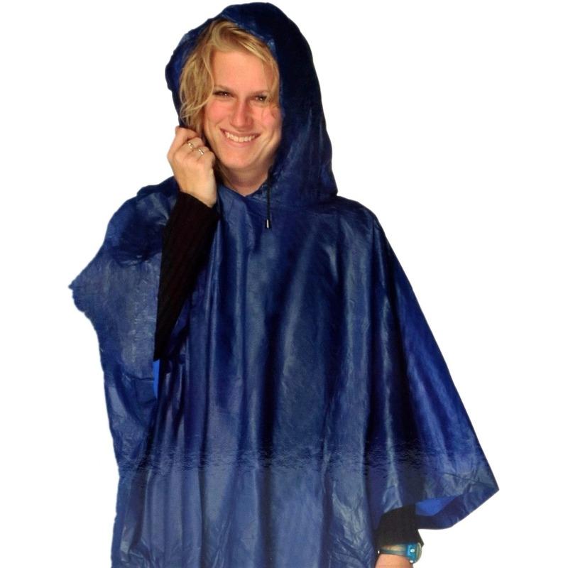 Blauwe regenpocnho met capuchon voor volwassenen