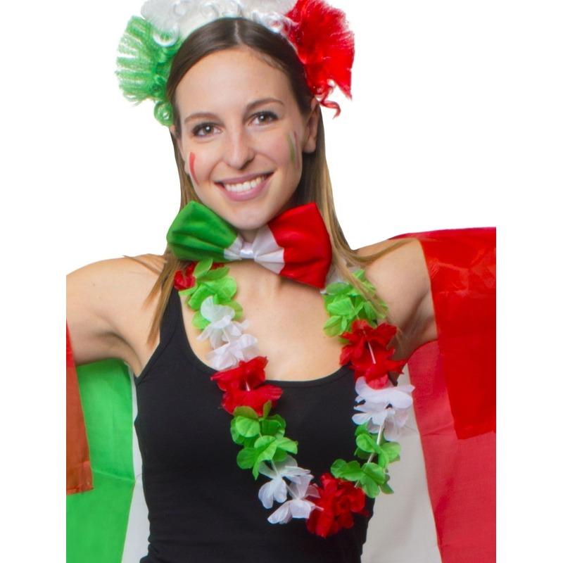 Hawaii feestartikelen Geen Bloemen slinger rood, groen en wit