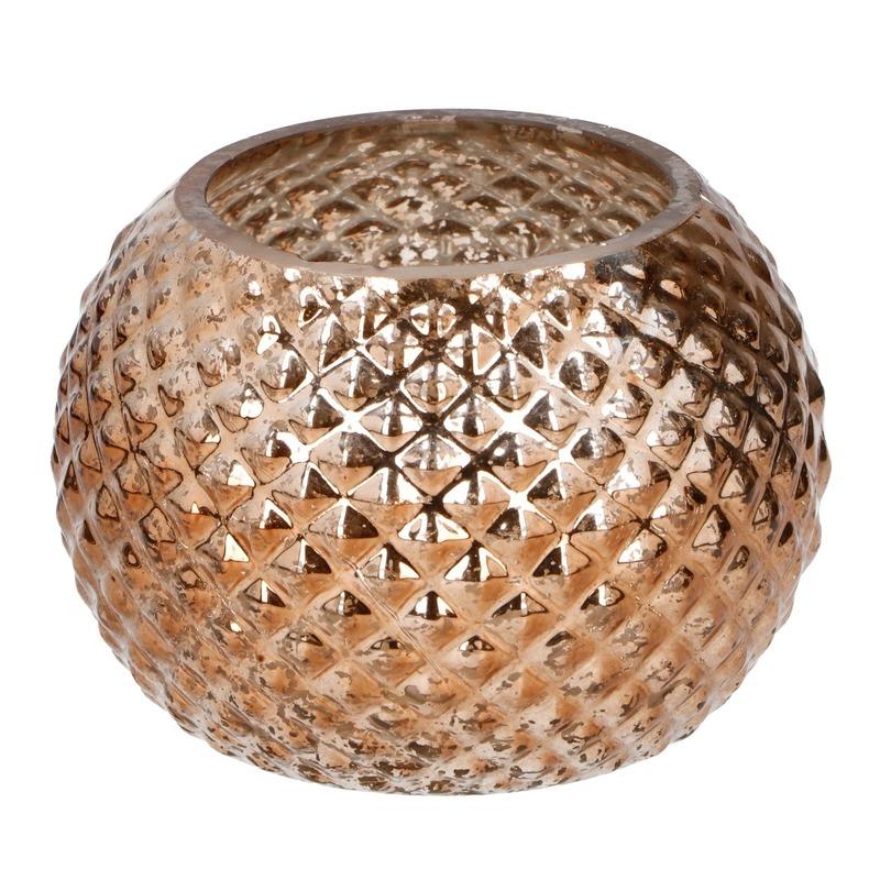 Woonaccessoires Geen Bronzen glazen kaarsenhouder rond