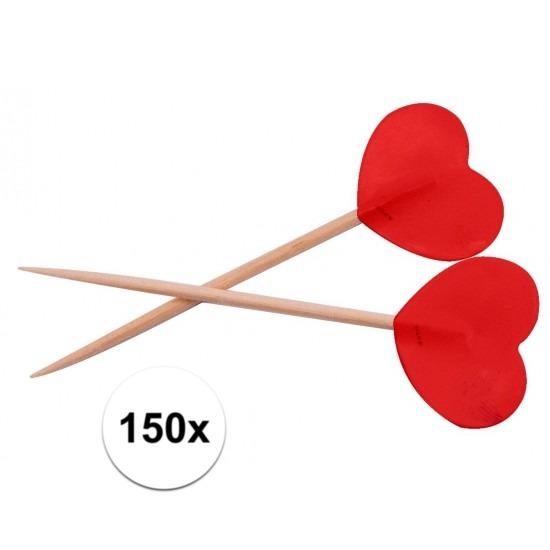 Bruiloft cocktailprikkers rode hartjes 150 stuks Geen Het leukste