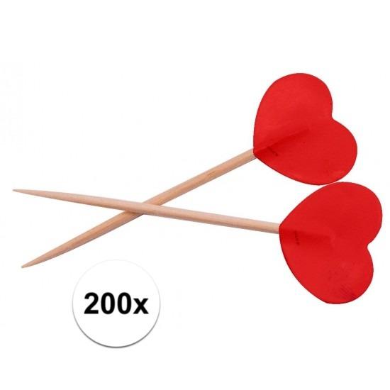 Feestartikelen diversen Bruiloft cocktailprikkers rode hartjes 200 stuks