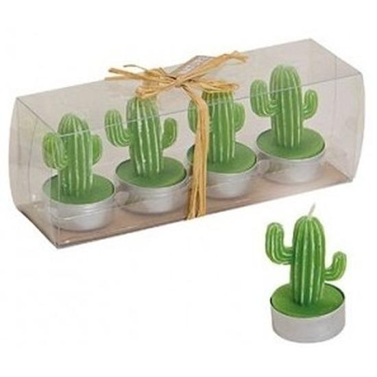Woonaccessoires Cactus theelichtjes donker groen 4 stuks