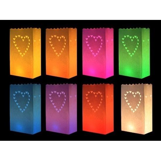 Feestartikelen diversen Geen Candle bags set hart gekleurd 10 stuks