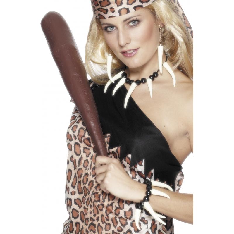 Cavewoman ketting, armband en oorbellen