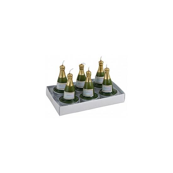 Feestartikelen diversen Geen Champagnefles theelichtjes 6 stuks