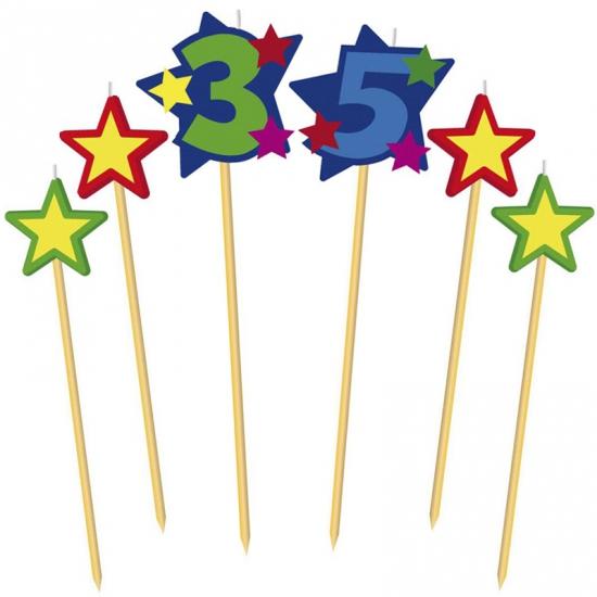 Feestartikelen diversen Cijfer 35 prikker kaars met sterren