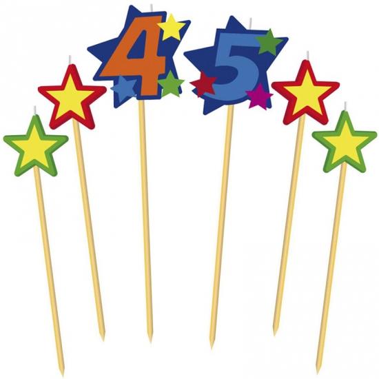 Cijfer 45 prikker kaars met sterren Geen Feestartikelen diversen