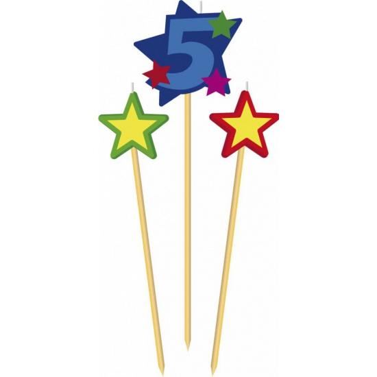 Feestartikelen diversen Geen Cijfer 5 prikker kaars met sterren
