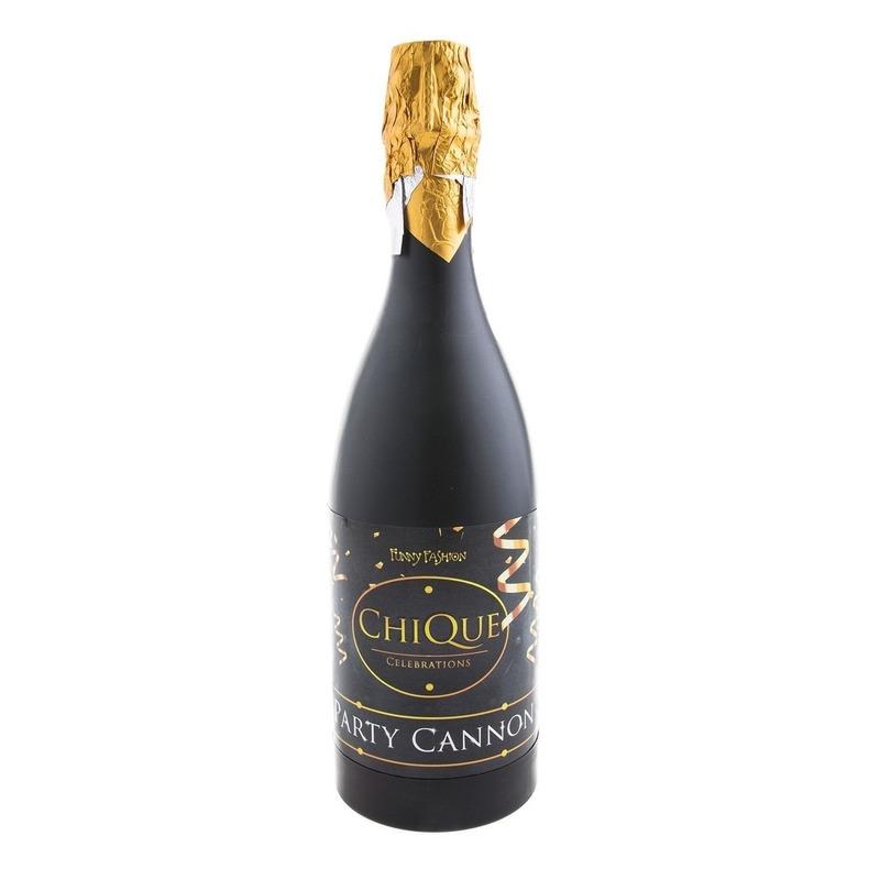 Confetti shooters champagne oud en nieuw-nieuwjaar zwart 30 cm