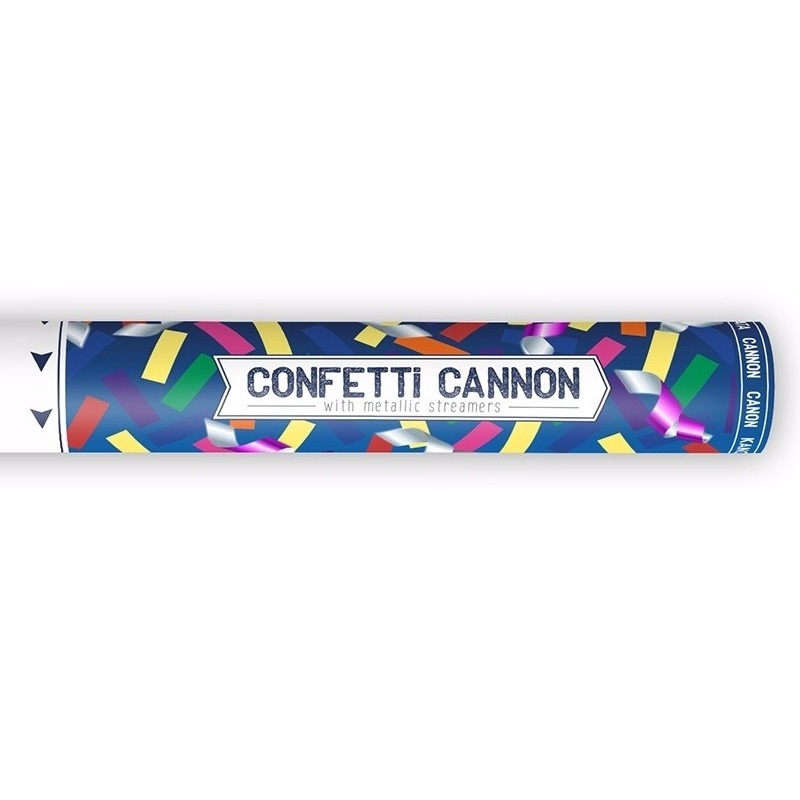 Feestartikelen diversen Confetti shooters metallic kleuren mix 40 cm