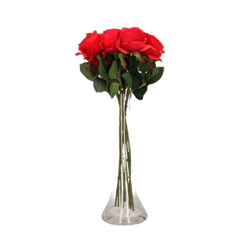 Decoratie kunstbloemen 12 rode rozen met vaas