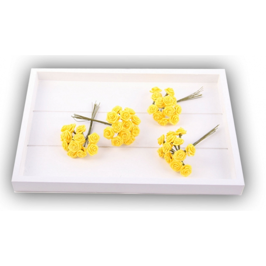 Decoratie rozen geel 12 cm
