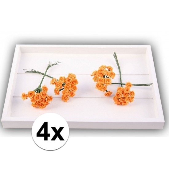 Decoratie rozen oranje 12 cm 48 stuks