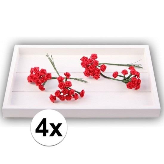 Decoratie rozen rood 12 cm 48 stuks