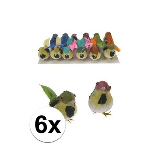 Decoratie vogeltje 6 stuks