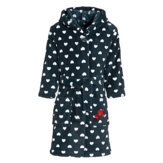 Donkerblauwe badjas-ochtendjas met hartjesprint voor kinderen