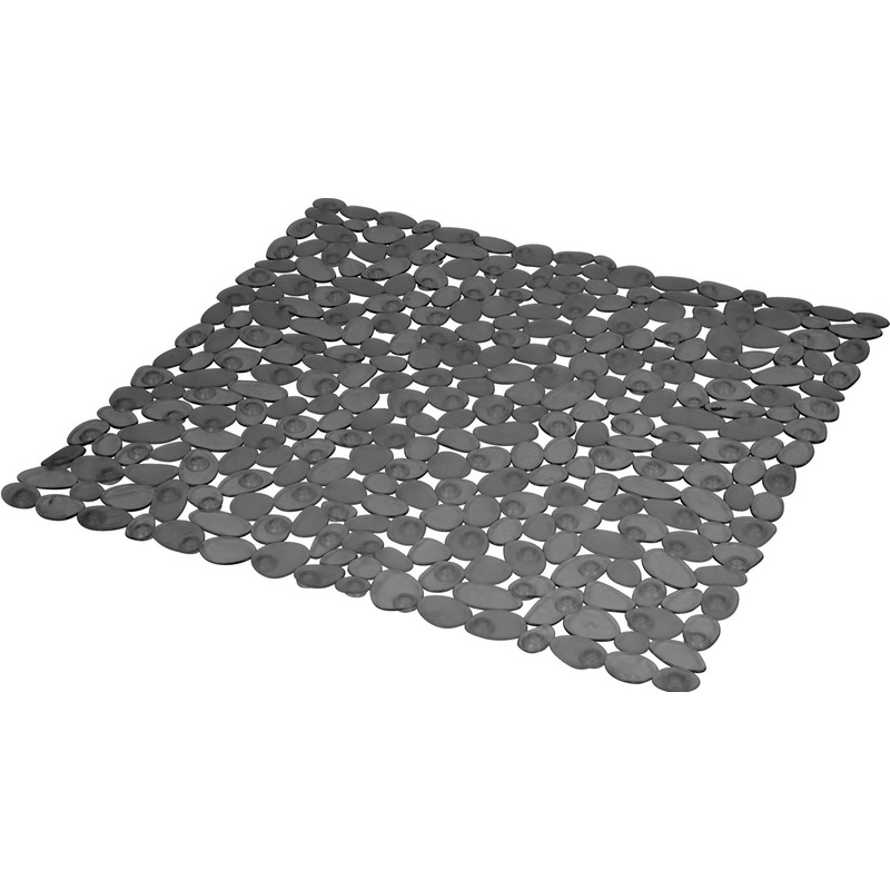 Donkergrijze anti-slip douchemat transparant 52 x 52 cm vierkant