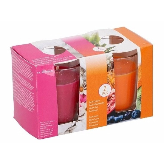 Duo geurkaarsen fresh cotton en fruit fusion in glas Geen Woonaccessoires