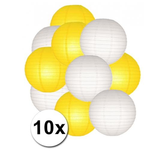 Feestartikelen diversen Shoppartners Feestartikelen lampionnen geel witte 10x