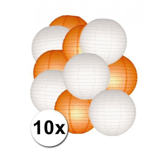 Feestartikelen lampionnen oranje witte 10x Shoppartners Feestartikelen diversen