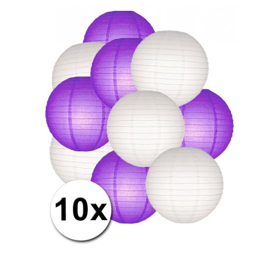 Voordeel 6% Korting Feestartikelen lampionnen paars witte 10x