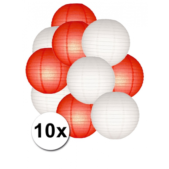 €1500000 Korting Shoppartners Feestartikelen lampionnen rood witte 10x
