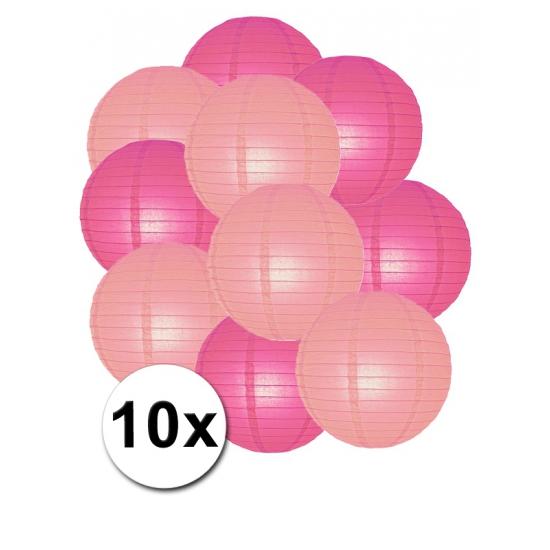 Feestartikelen diversen Shoppartners Feestartikelen lampionnen roze lichtroze 10x