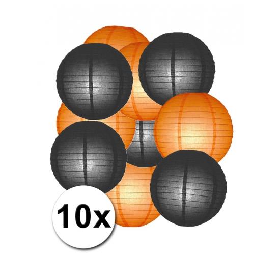 Feestartikelen lampionnen zwart oranje10x Shoppartners Feestartikelen diversen