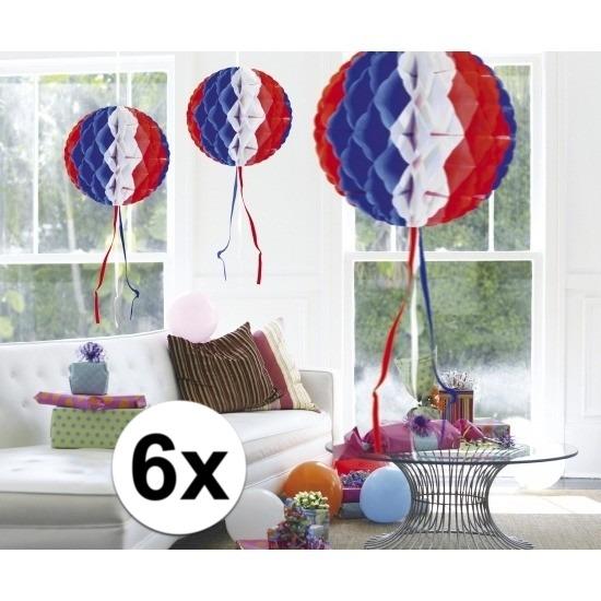Kleuren versiering Feestversiering blauw wit rood decoratie bollen 30 cm set van 3