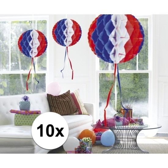 Geen Feestversiering blauw wit rood decoratie bollen 30 cm set van 3 Kleuren versiering