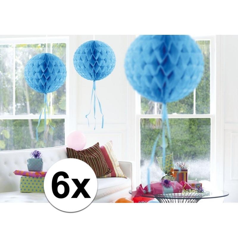 Kleuren versiering Feestversiering blauwe decoratie bollen 30 cm set van 3