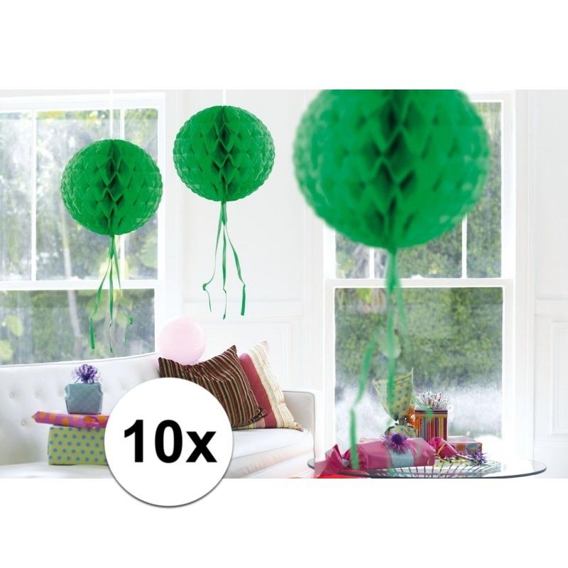 Feestversiering groene decoratie bollen 30 cm set van 3 Geen Kleuren versiering