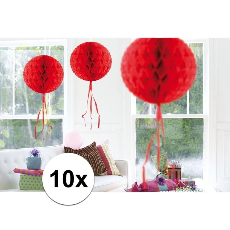 Kleuren versiering Geen Feestversiering rode decoratie bollen 30 cm set van 3