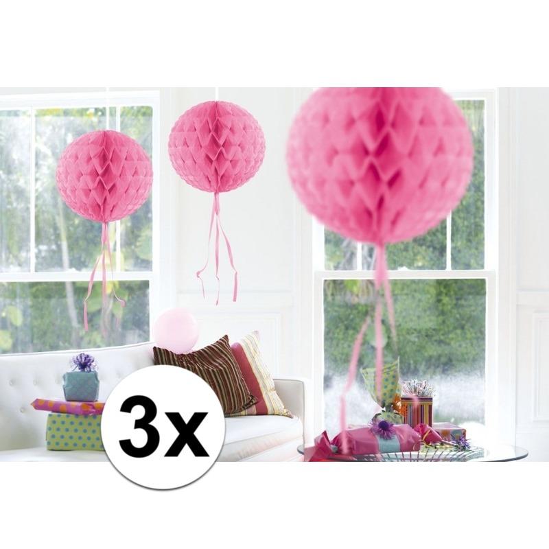Feestversiering roze decoratie bollen 30 cm set van 3 Geen Kleuren versiering
