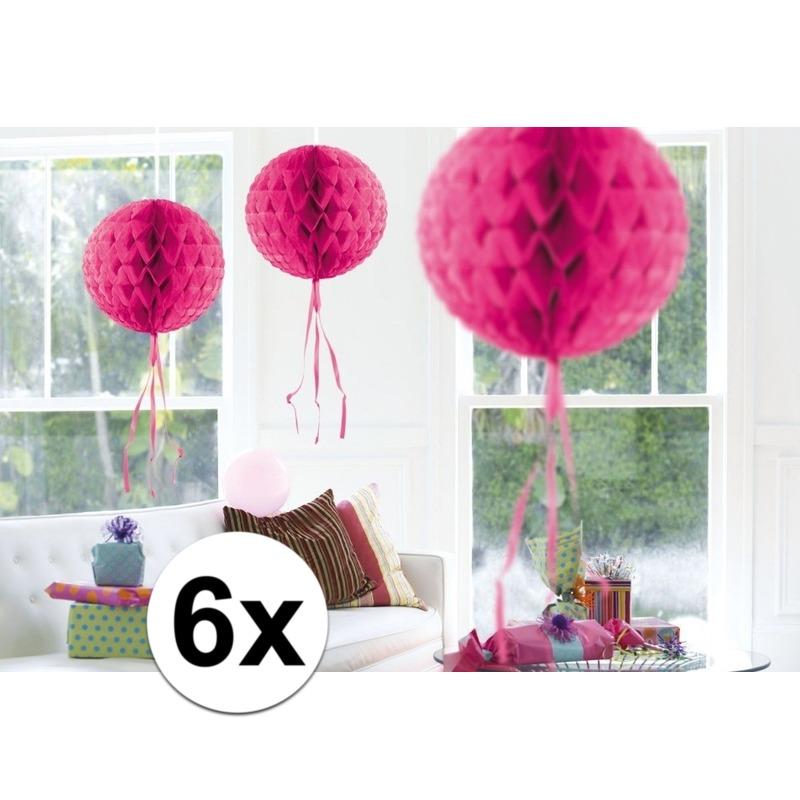 Kleuren versiering Geen Feestversiering roze decoratie bollen 30 cm set van 3