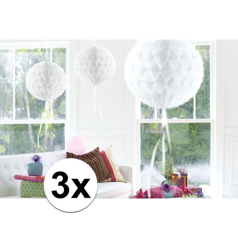 Geen Feestversiering witte decoratie bollen 30 cm set van 3 Kleuren versiering