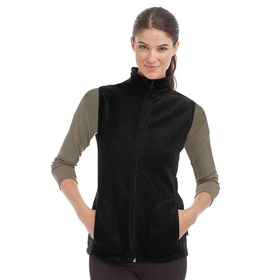 Fleece bodywarmer zwart voor dames