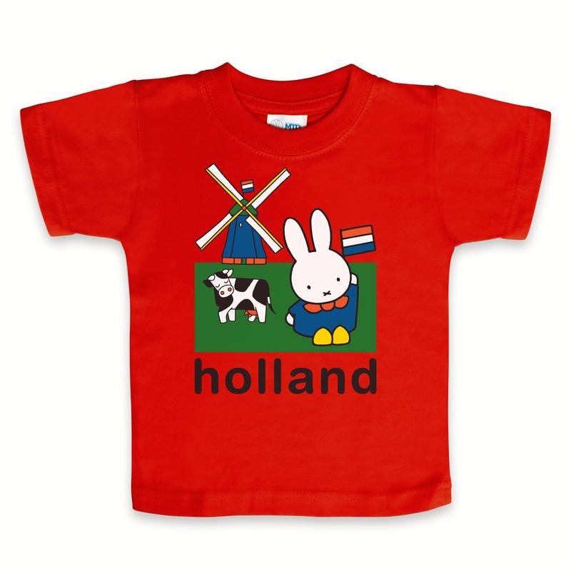 Geboorte kado Nijntje baby t-shirt rood