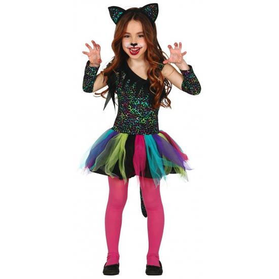 Gekleurd katten verkleedjurkje meisjes