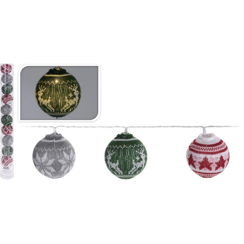 Kerst feestartikelen Geen Gekleurde lichtsnoer met LED kerstballen 65 cm