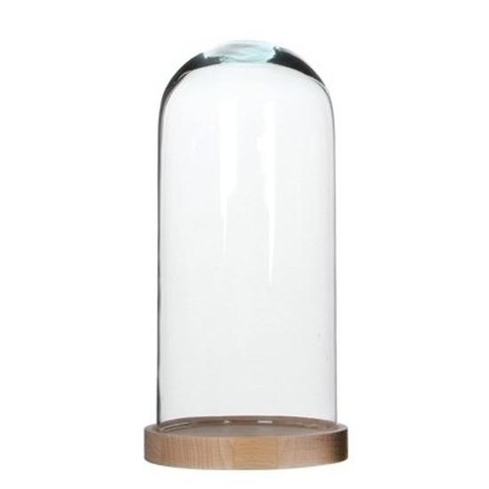 Glazen decoratie stolp Hella op houten plateau 13 x 26 cm