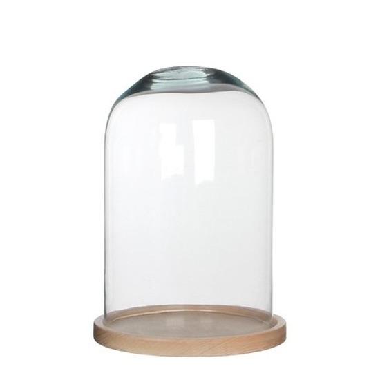 Glazen decoratie stolp Hella op houten plateau 21 x 30 cm