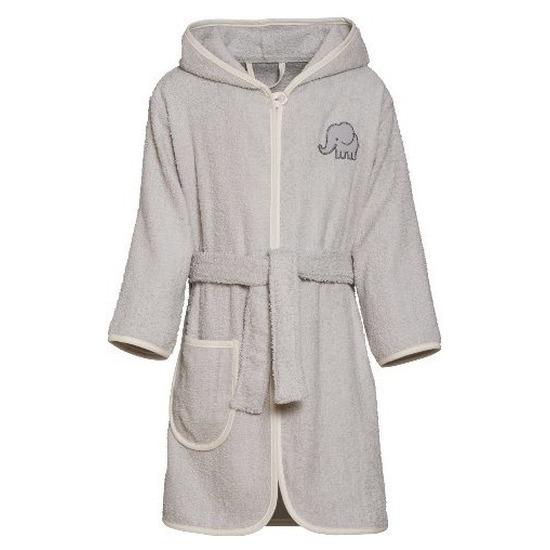 Grijze badjas-ochtendjas olifant borduursel voor kinderen