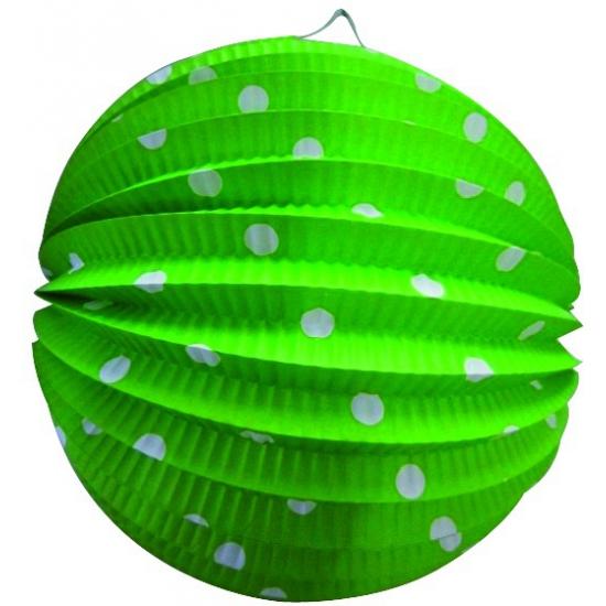 Geen Groen gekleurde feest lampion met witte stippen Feestartikelen diversen