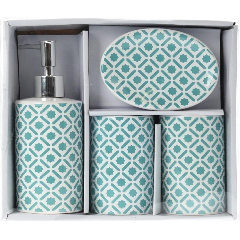 Groen-witte retro badkamer set 4-delig