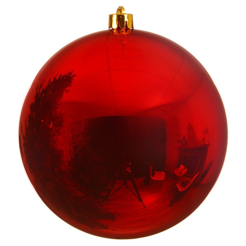 Grote raam-deur decoratie rode kerstbal van 14 cm