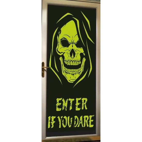 Halloween deur decoratie poster met skelet