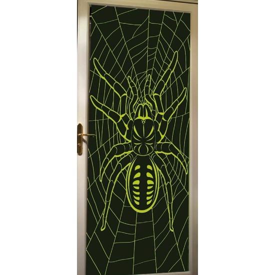 Halloween deur decoratie poster met spin