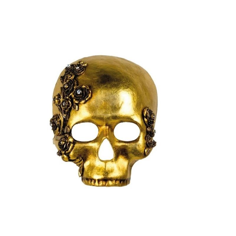 Handgemaakt decoratie masker gouden schedel